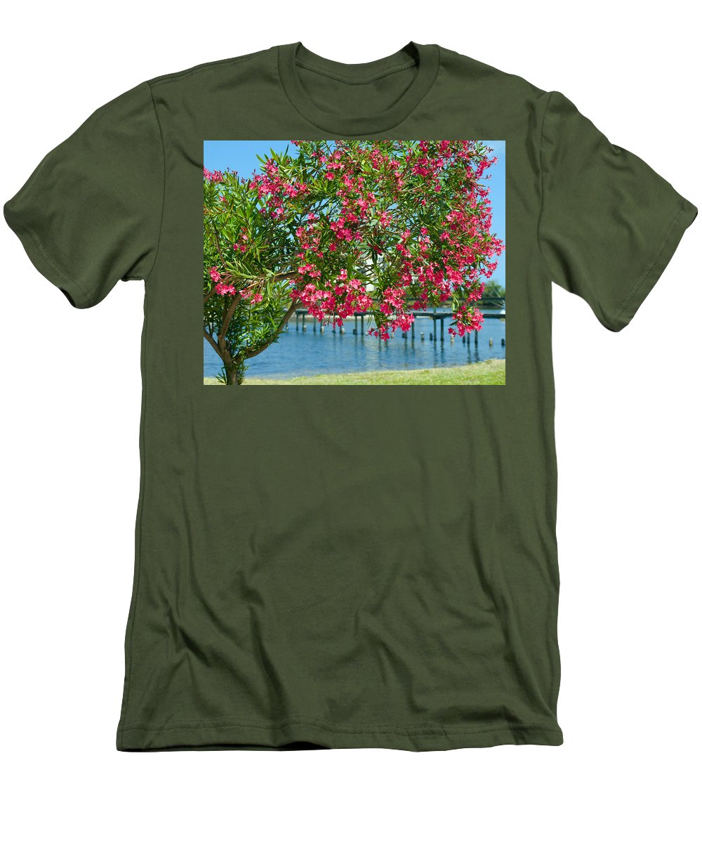 Florida; Indian; River; Melbourne; Nerium; Oleander; Red; Pink; Flower; Bush; Shrub; Poison; Poisono Men's T-Shirt (Athletic Fit) featuring the photograph Oleander On Melbourne Harbor In Florida by Allan Hughes