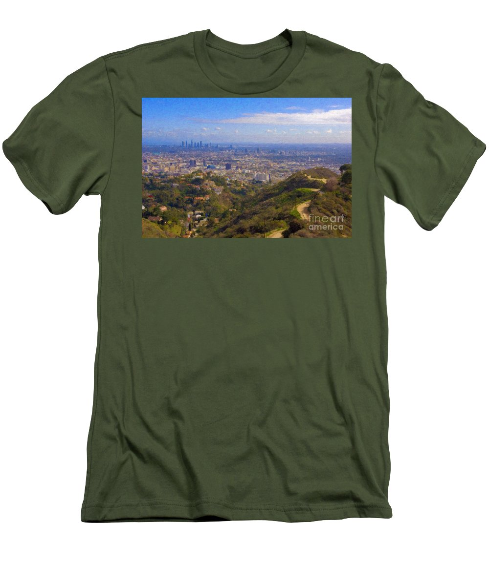 Los Angeles Men's T-Shirt (Athletic Fit) featuring the photograph On The Road To Oz La Skyline Runyon Canyon Hiking Trail by David Zanzinger