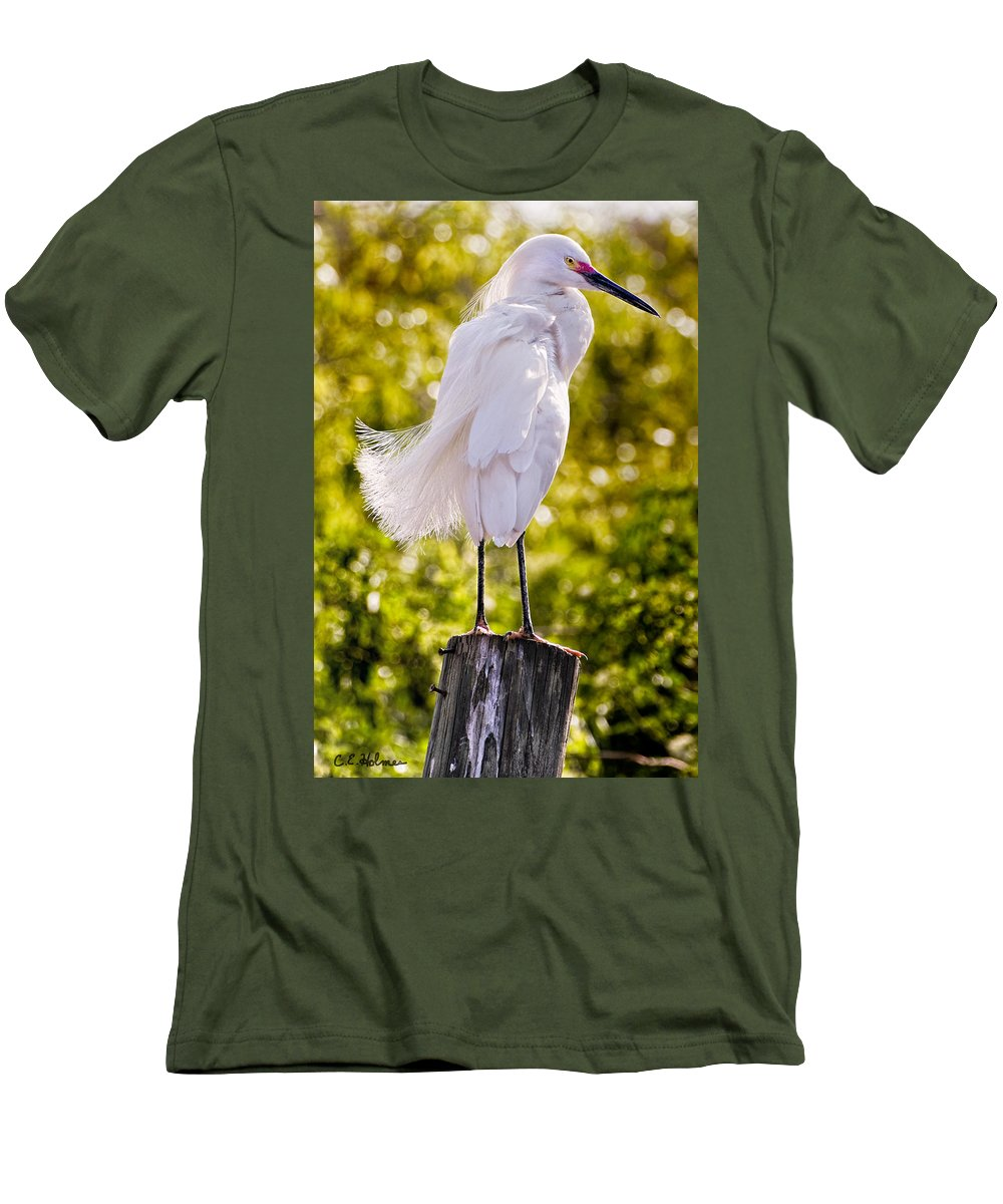 snowy Egret Men's T-Shirt (Athletic Fit) featuring the photograph On Watch by Christopher Holmes