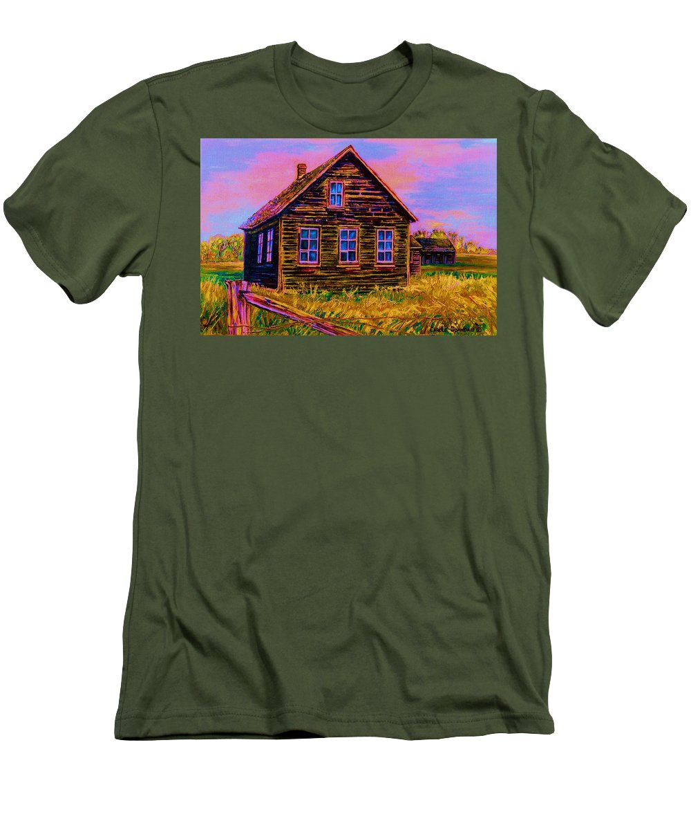 Western Art Men's T-Shirt (Athletic Fit) featuring the painting One Room Schoolhouse by Carole Spandau