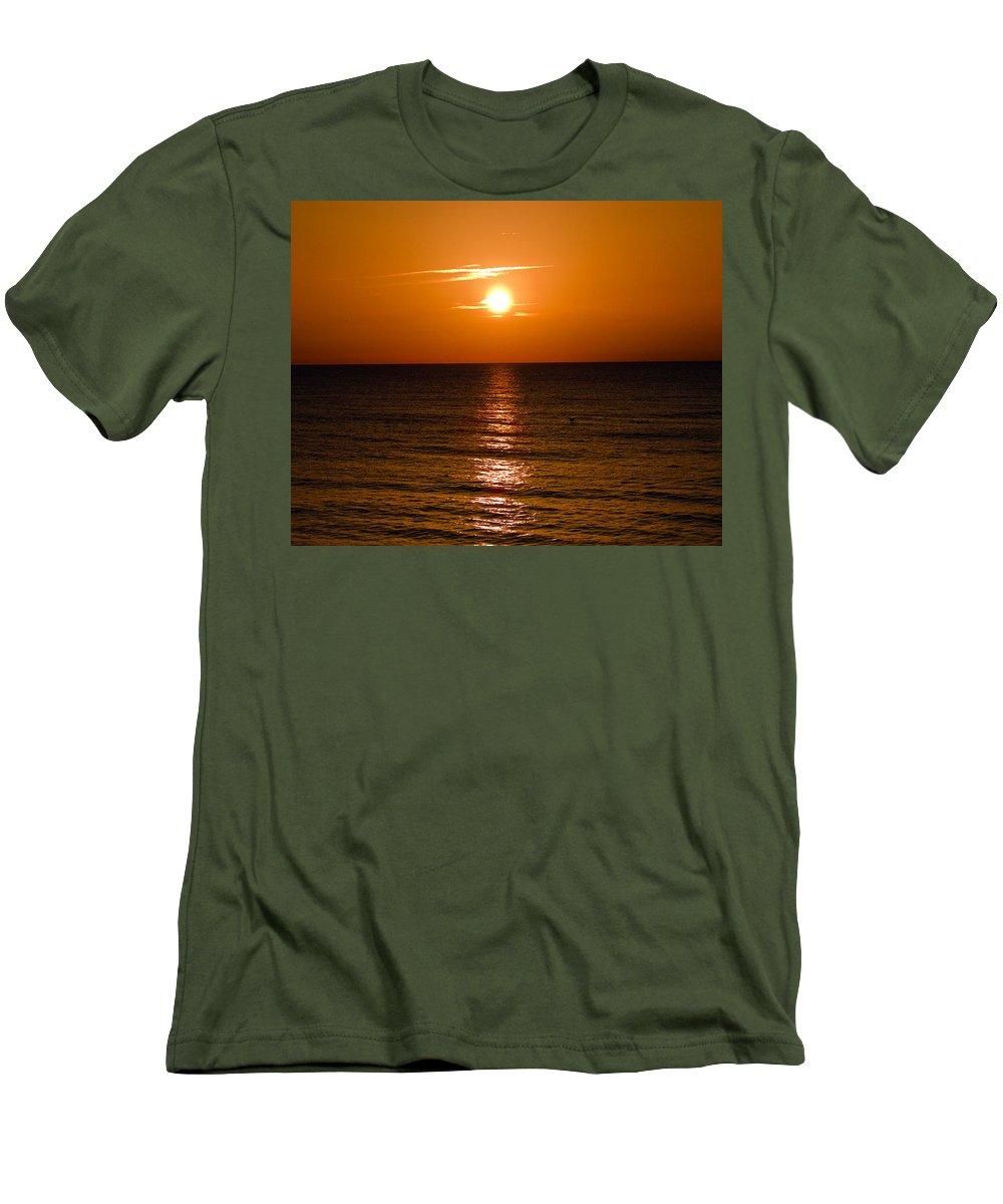 Sun; Rise; Sunrise; Orange; Florida; Morning; Solar; Ocean; Sea; Shore. Coast; Beach; Calm; Waves; S Men's T-Shirt (Athletic Fit) featuring the photograph Orange Sunrise Over A Florida Beach by Allan Hughes