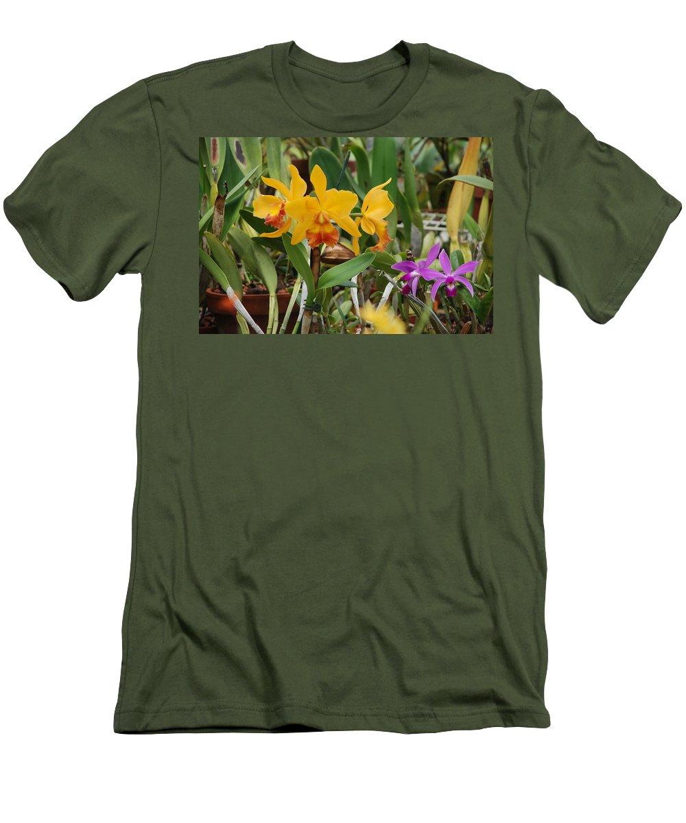 Orange Men's T-Shirt (Athletic Fit) featuring the photograph Orangepurple Orchids by Rob Hans