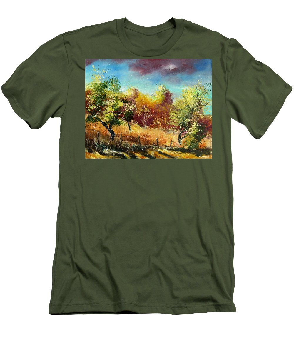 Flowers Men's T-Shirt (Athletic Fit) featuring the painting Orchard by Pol Ledent