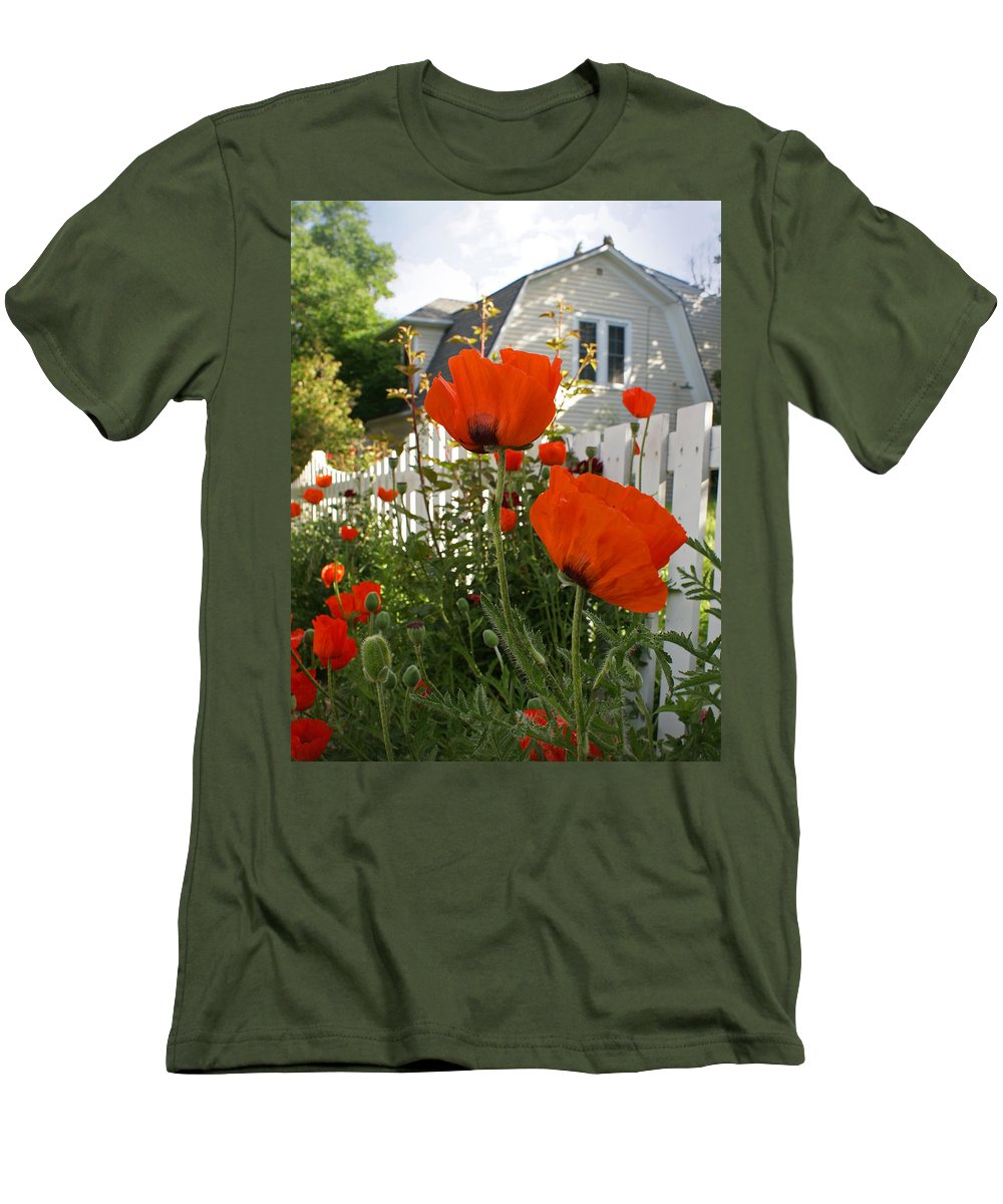 Poppies Men's T-Shirt (Athletic Fit) featuring the photograph Oriental Poppies by Heather Coen