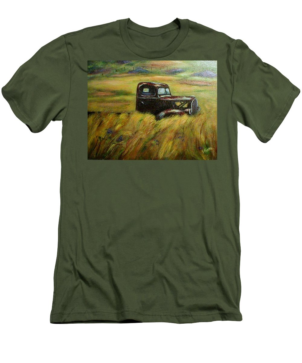Vintage Truck Men's T-Shirt (Athletic Fit) featuring the painting Out To Pasture by Gail Kirtz