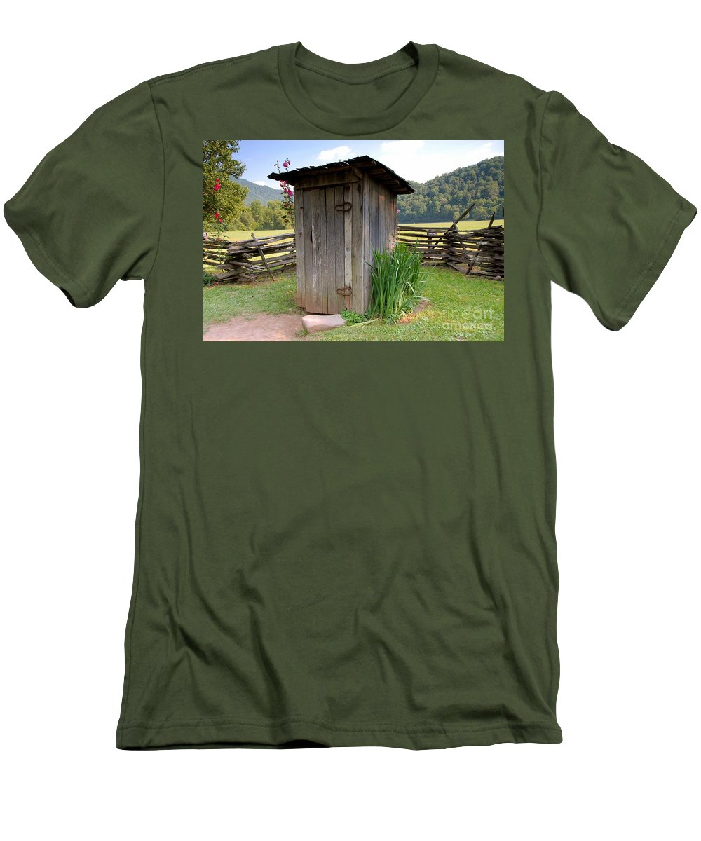 Outhouse Men's T-Shirt (Athletic Fit) featuring the photograph Outhouse by David Lee Thompson