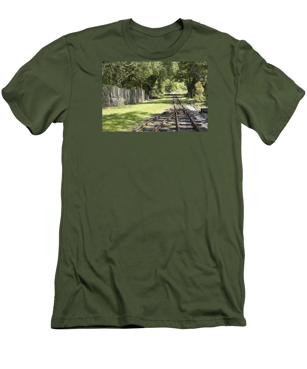 Railways Men's T-Shirt (Athletic Fit) featuring the photograph Padarn Lake Railway by Christopher Rowlands