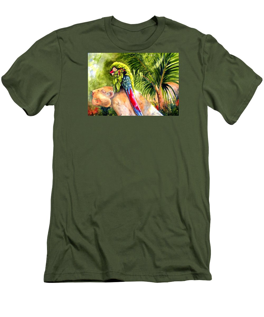 Parrot Men's T-Shirt (Athletic Fit) featuring the painting Pajaro by Karen Stark