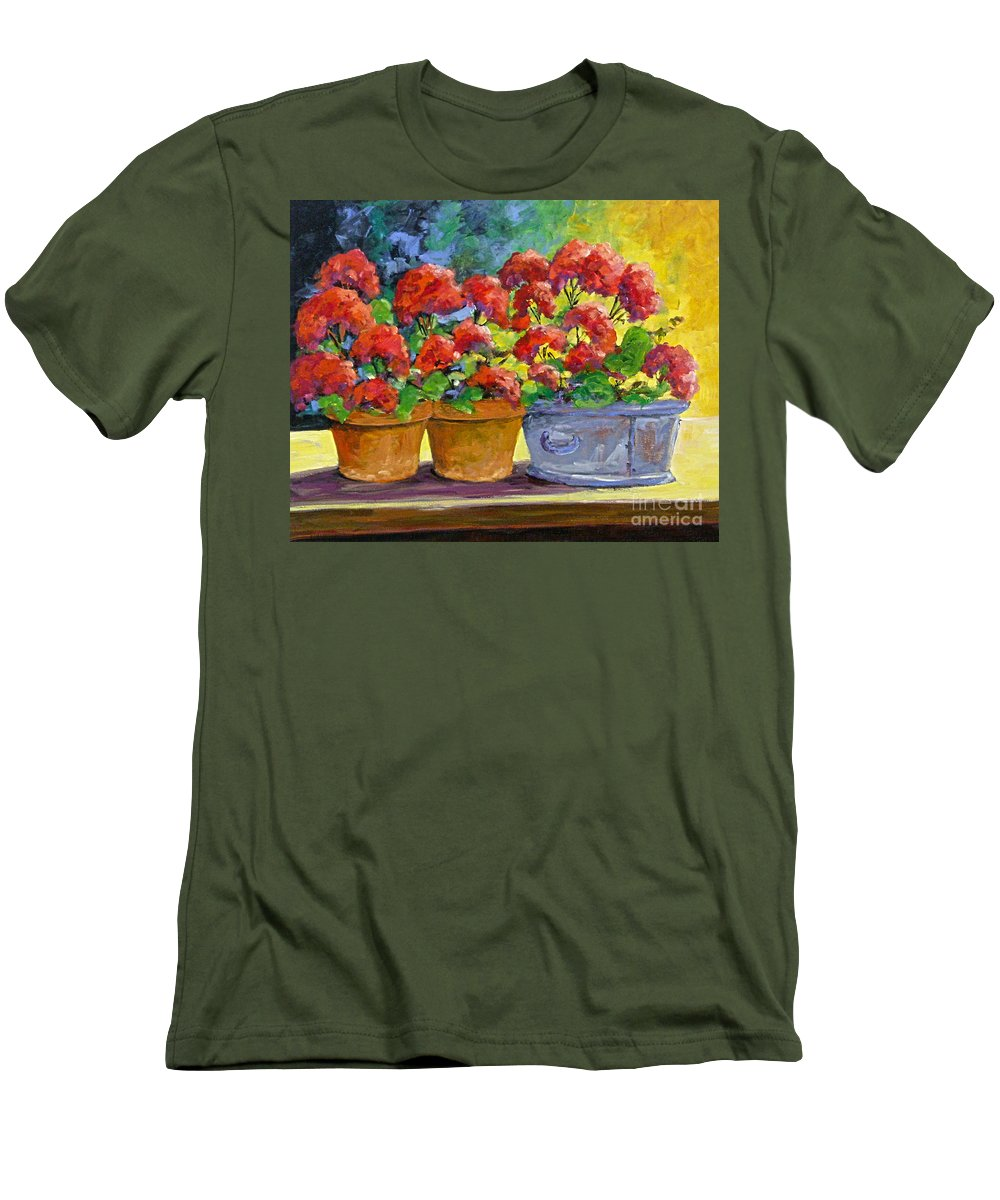 Still Life; Geraniums; Flowers; Terra Cotta; Red; Blue; Yellow; Green; Pranke; Men's T-Shirt (Athletic Fit) featuring the painting Passion In Red by Richard T Pranke