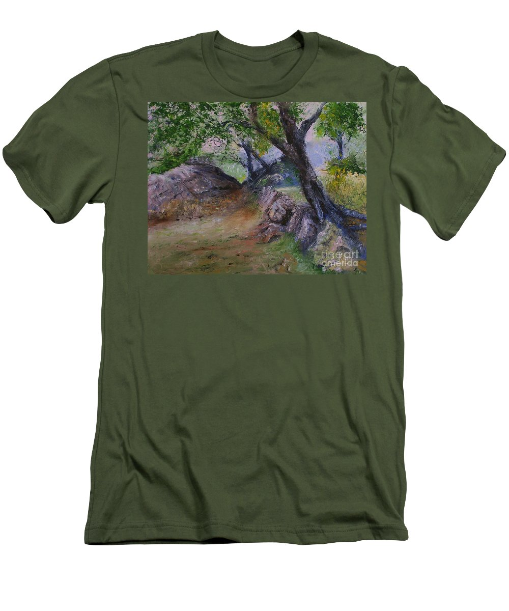 Landscape Men's T-Shirt (Athletic Fit) featuring the painting Path To Nowhere by Stephen King