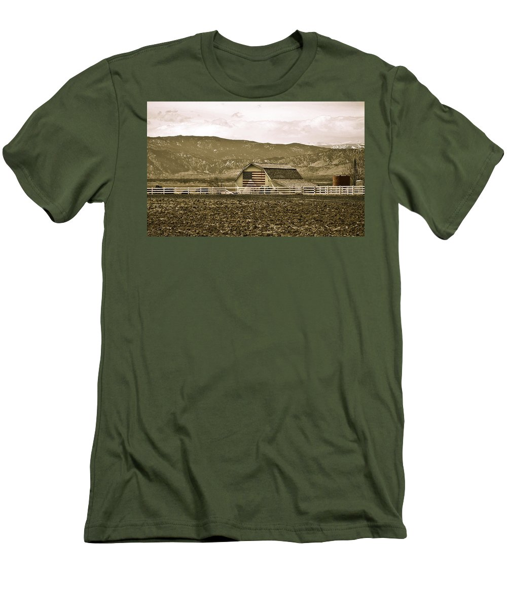 Americana Men's T-Shirt (Athletic Fit) featuring the photograph Patriotism And Barn by Marilyn Hunt