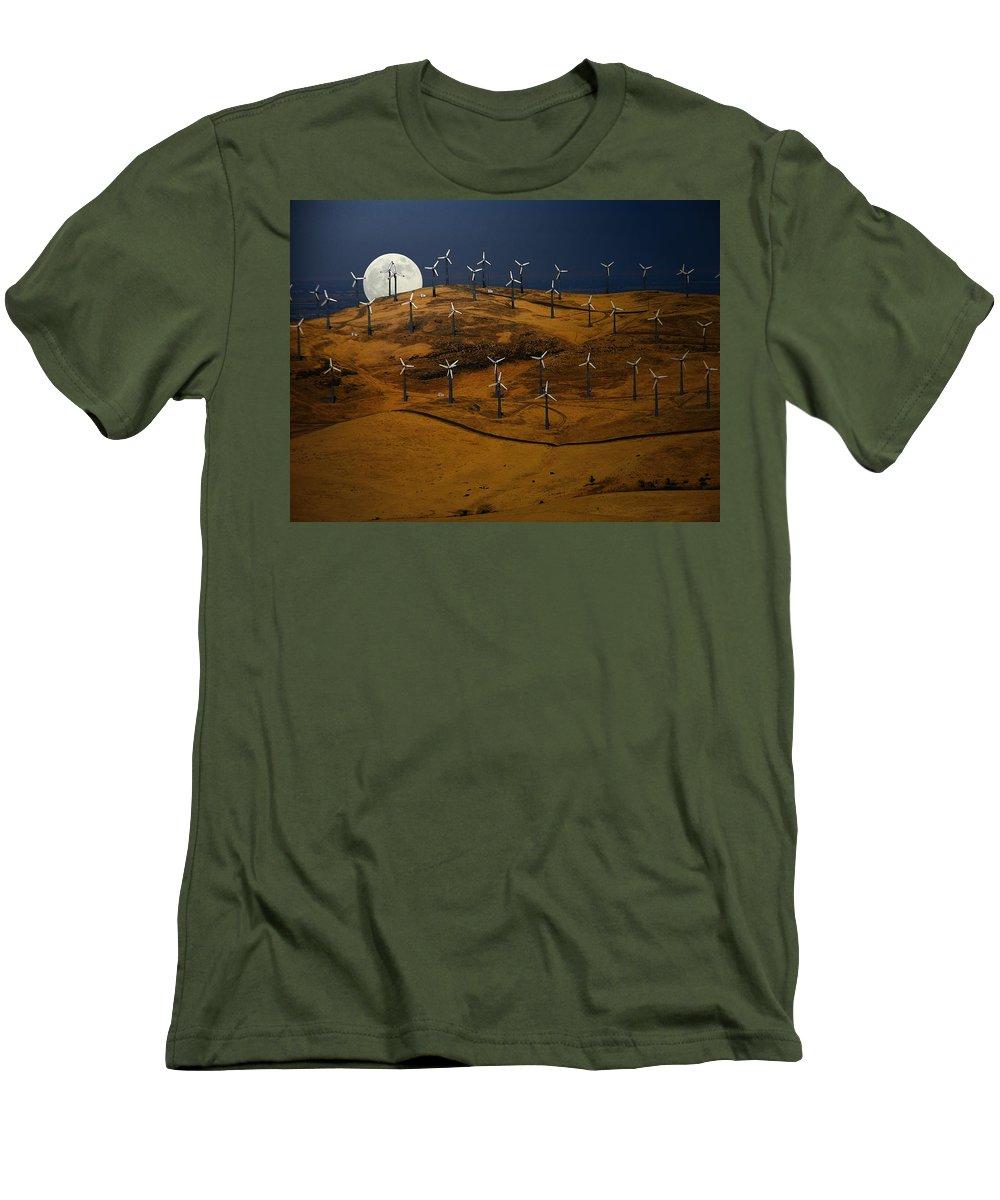 Landscape Men's T-Shirt (Athletic Fit) featuring the photograph Patterson Pass Wind Farm by Karen W Meyer