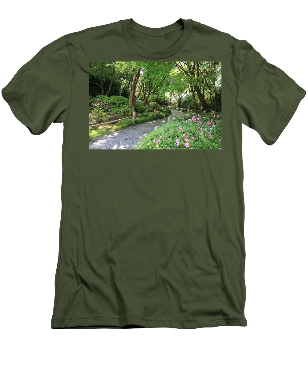 Garden Path Men's T-Shirt (Athletic Fit) featuring the photograph Peaceful Garden Path by Carol Groenen
