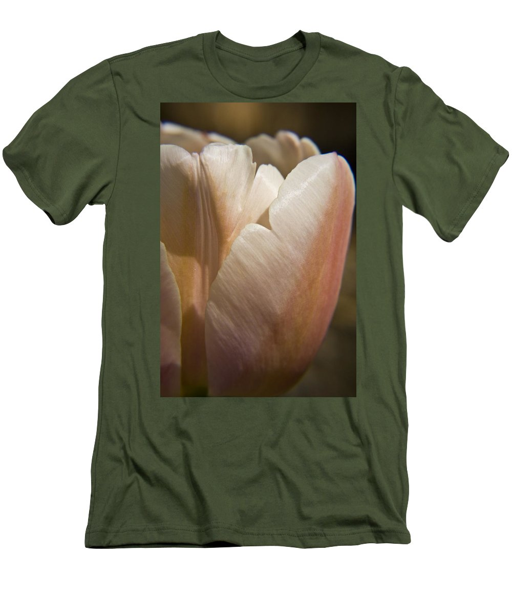 Peach Men's T-Shirt (Athletic Fit) featuring the photograph Peach Tulip by Teresa Mucha
