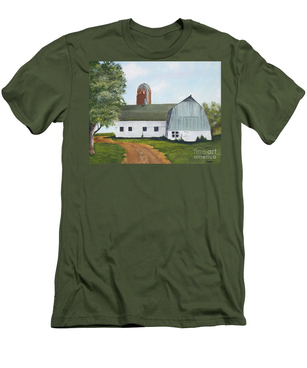 Barn Men's T-Shirt (Athletic Fit) featuring the painting Pedersen Barn by Mendy Pedersen