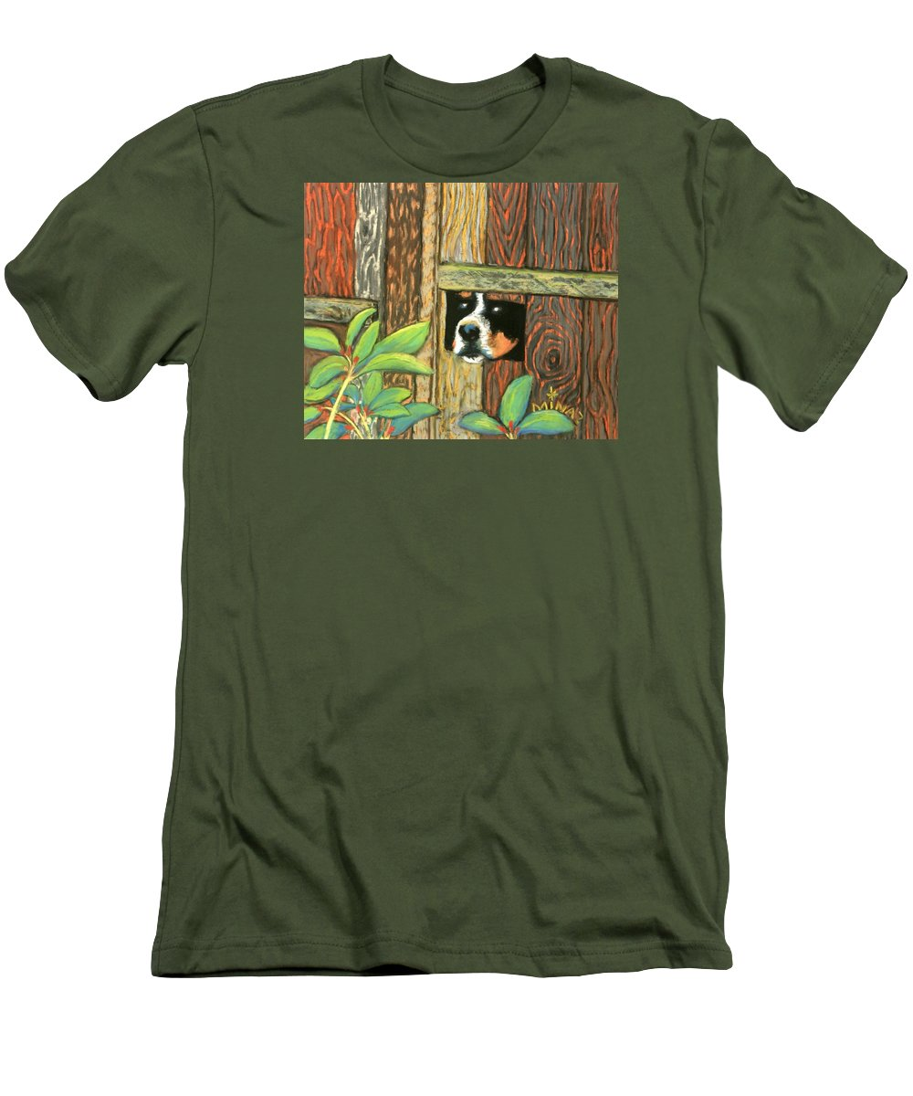 Dog Men's T-Shirt (Athletic Fit) featuring the painting Peek-a-boo Fence by Minaz Jantz