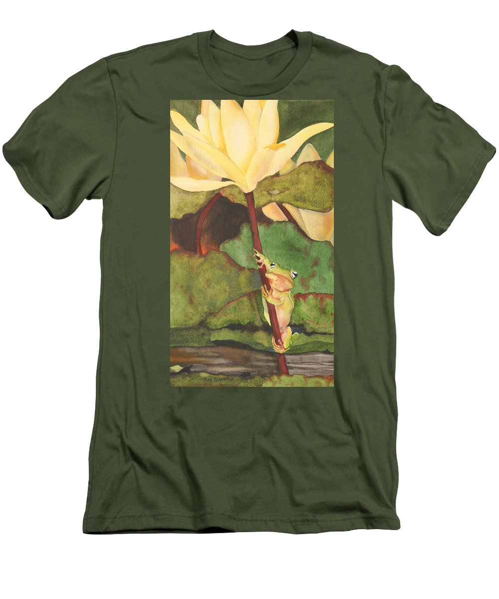 Frog Men's T-Shirt (Athletic Fit) featuring the painting Peeping Tom by Jean Blackmer