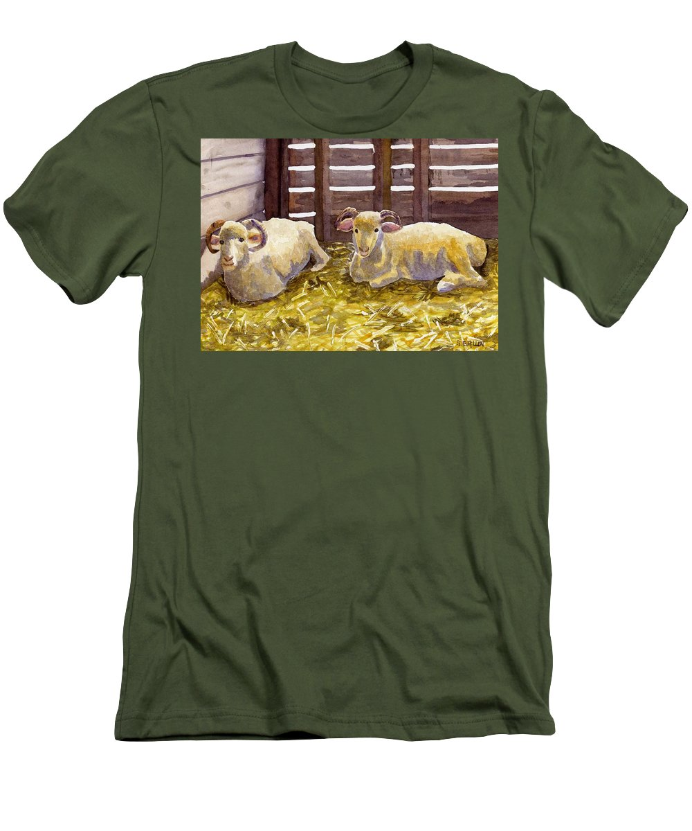 Sheep Men's T-Shirt (Athletic Fit) featuring the painting Pen Pals by Sharon E Allen