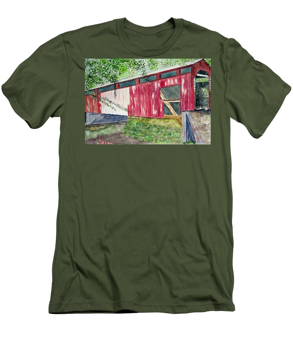 Pennsylvania Art Men's T-Shirt (Athletic Fit) featuring the painting Pennsylvania Bridge To Nowhere by Larry Wright