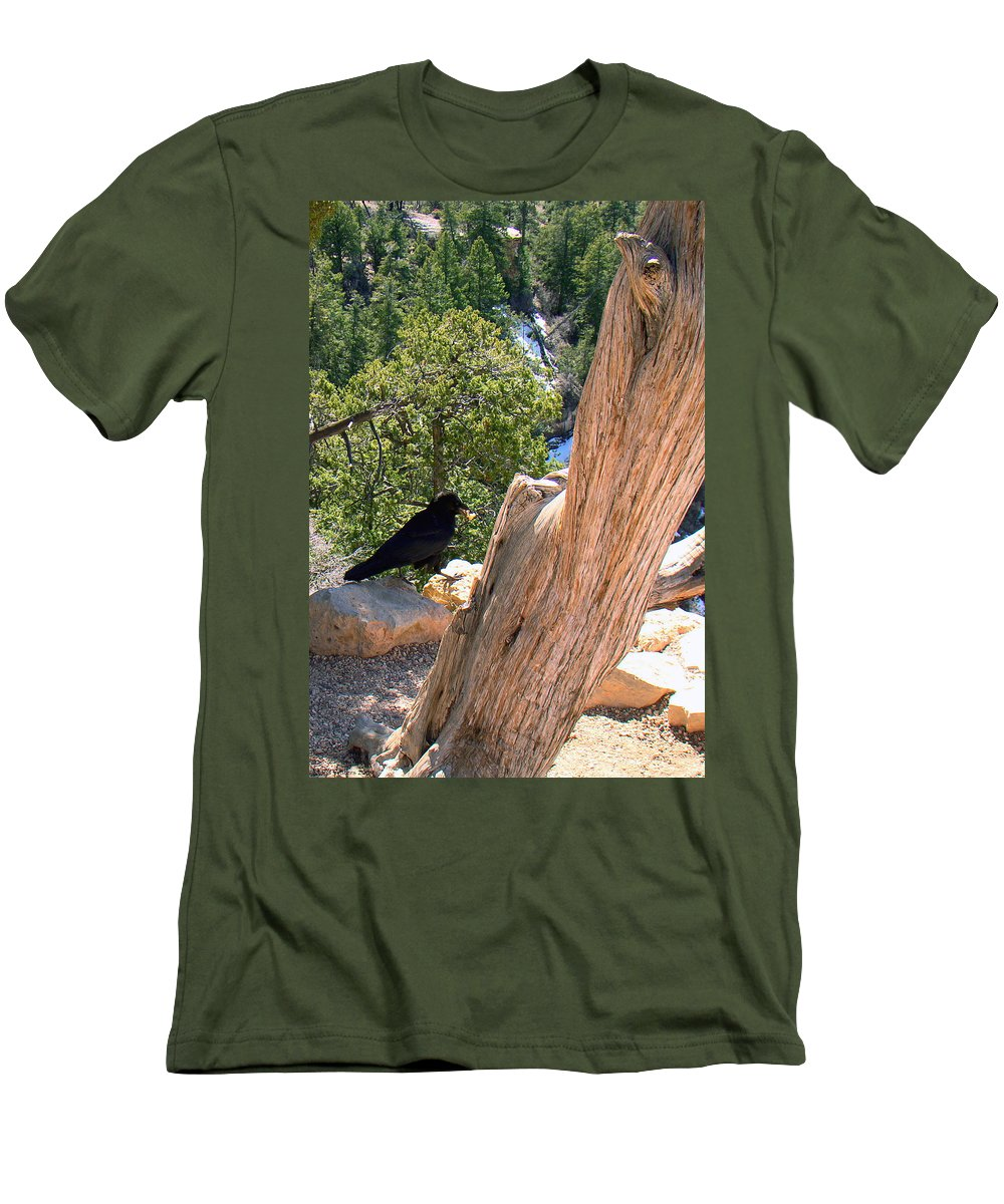 Grand Canyon Men's T-Shirt (Athletic Fit) featuring the photograph Petrified Raven At Grand Canyon by Merja Waters