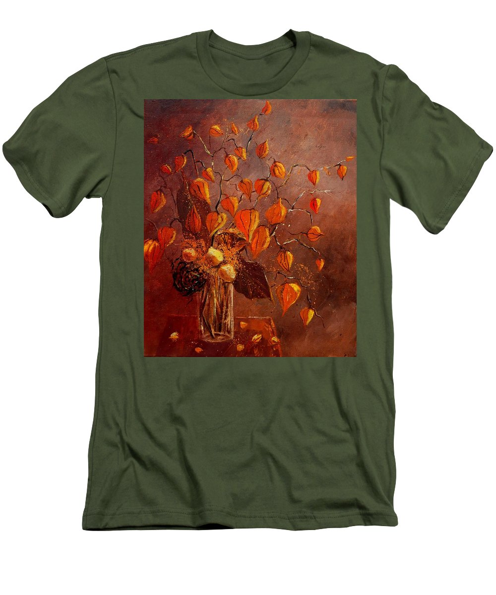 Poppies Men's T-Shirt (Athletic Fit) featuring the painting Physialis by Pol Ledent