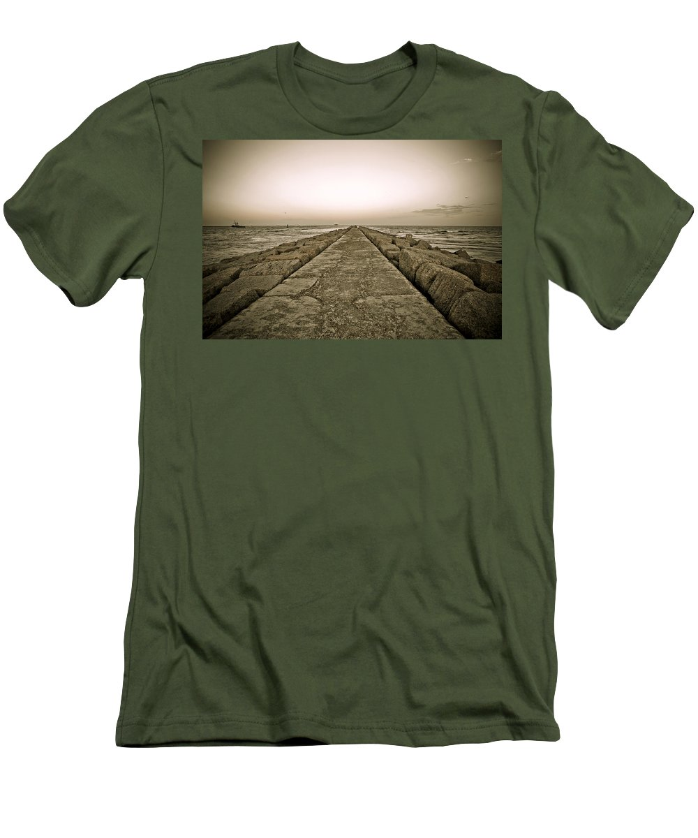 Water Men's T-Shirt (Athletic Fit) featuring the photograph Pier At Sunset by Marilyn Hunt