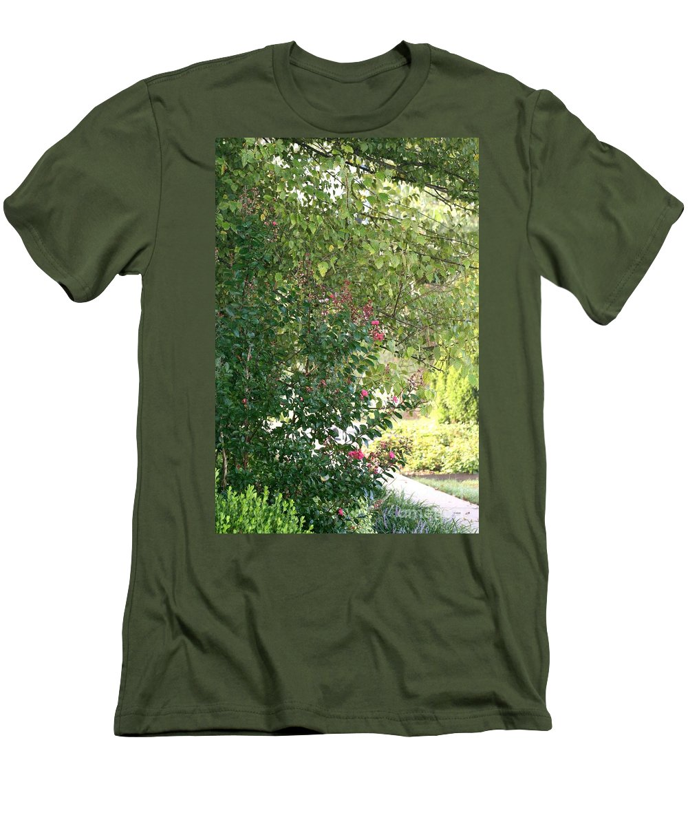 Path Men's T-Shirt (Athletic Fit) featuring the photograph Pink And Green Path by Nadine Rippelmeyer