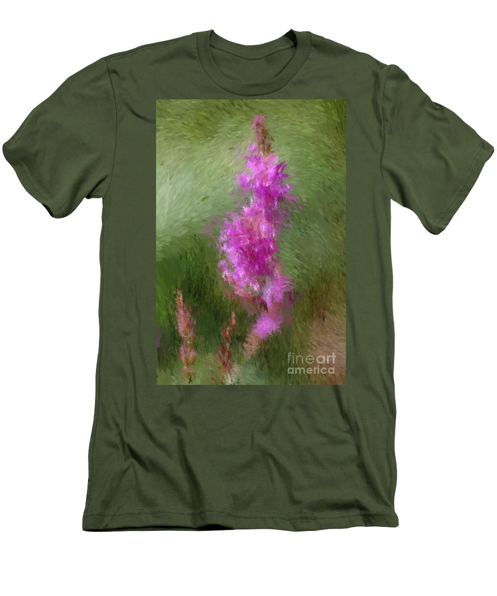 Abstract Men's T-Shirt (Athletic Fit) featuring the digital art Pink Nature Abstract by David Lane
