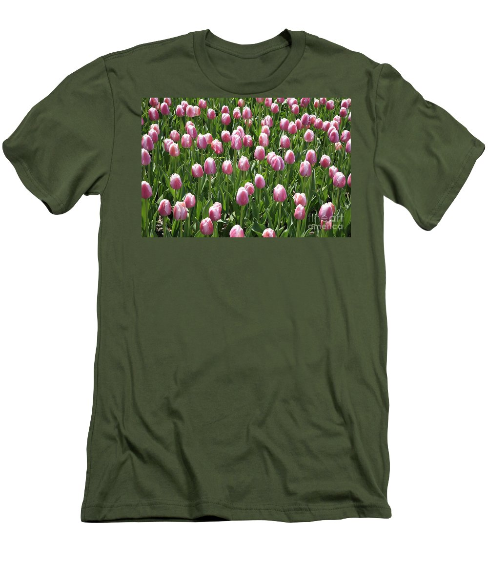 Tulip Men's T-Shirt (Athletic Fit) featuring the photograph Pink Tulip Field by Robert Pearson
