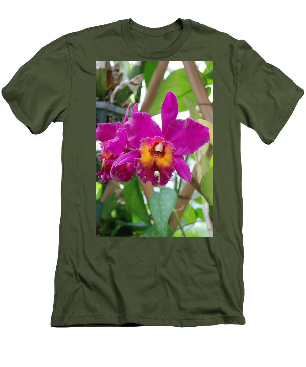Macro Men's T-Shirt (Athletic Fit) featuring the photograph Pinkishyellow Orchid by Rob Hans