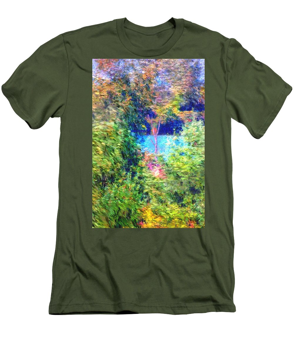 Digital Photograph Men's T-Shirt (Athletic Fit) featuring the photograph Pond Overlook by David Lane