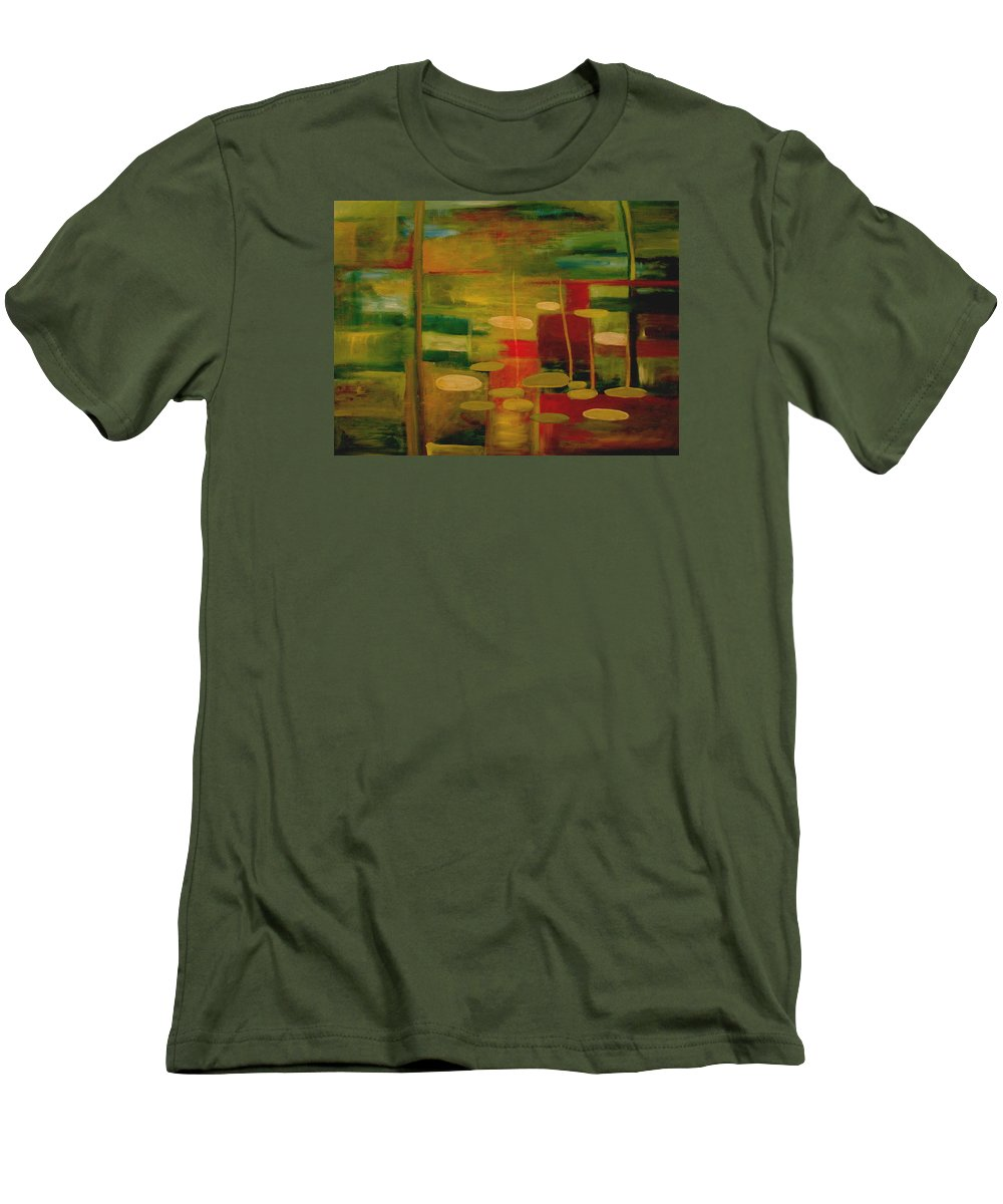 Pond Men's T-Shirt (Athletic Fit) featuring the painting Pond Reflections by Jun Jamosmos
