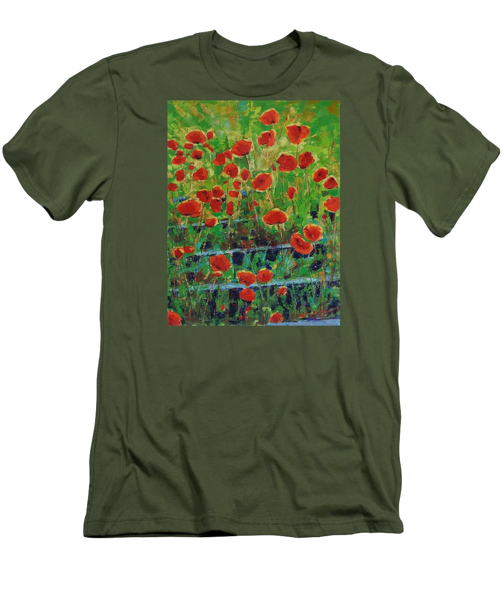 Poppies Men's T-Shirt (Athletic Fit) featuring the painting Poppies And Traverses 1 by Iliyan Bozhanov