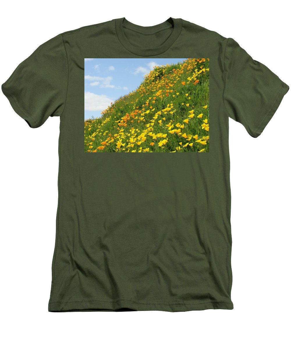 �poppies Artwork� Men's T-Shirt (Athletic Fit) featuring the photograph Poppies Hillside Meadow 17 Blue Sky White Clouds Giclee Art Prints Baslee Troutman by Baslee Troutman