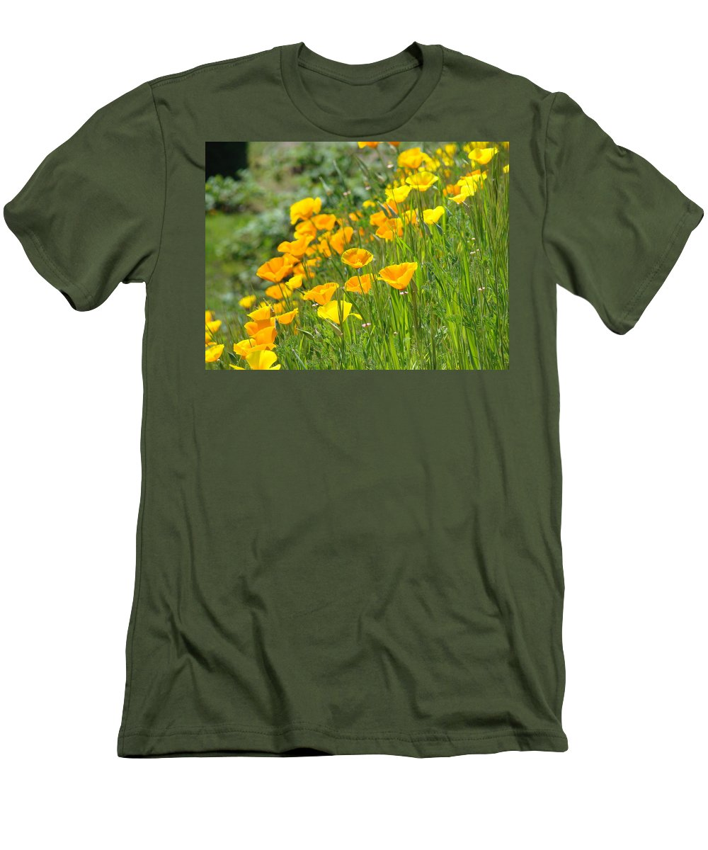 �poppies Artwork� Men's T-Shirt (Athletic Fit) featuring the photograph Poppies Hillside Meadow Landscape 19 Poppy Flowers Art Prints Baslee Troutman by Baslee Troutman