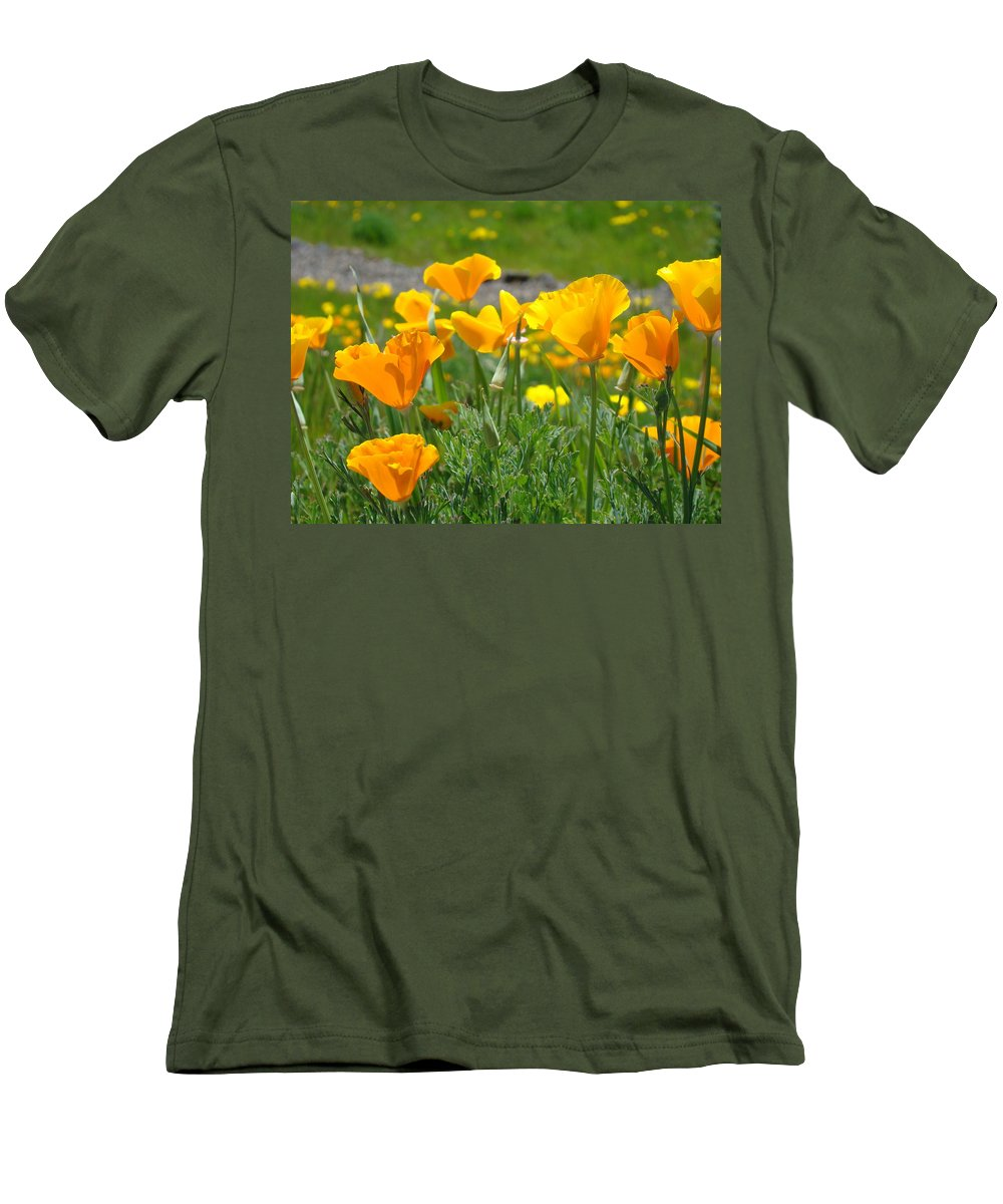 �poppies Artwork� Men's T-Shirt (Athletic Fit) featuring the photograph Poppies Meadow Summer Poppy Flowers 18 Wildflowers Poppies Baslee Troutman by Baslee Troutman