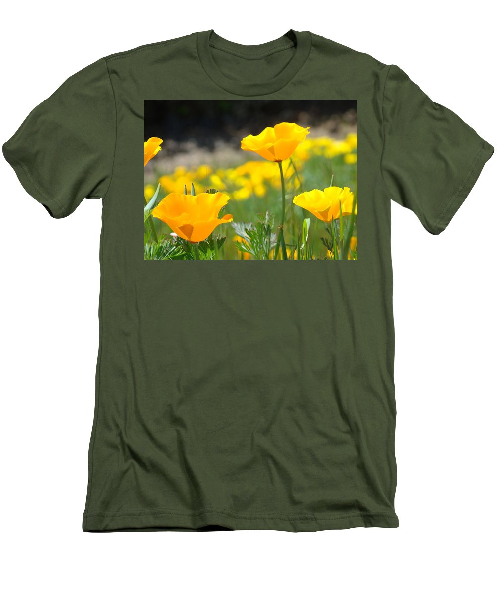 �poppies Artwork� Men's T-Shirt (Athletic Fit) featuring the photograph Poppy Flower Meadow 11 Poppies Art Prints Canvas Framed by Baslee Troutman