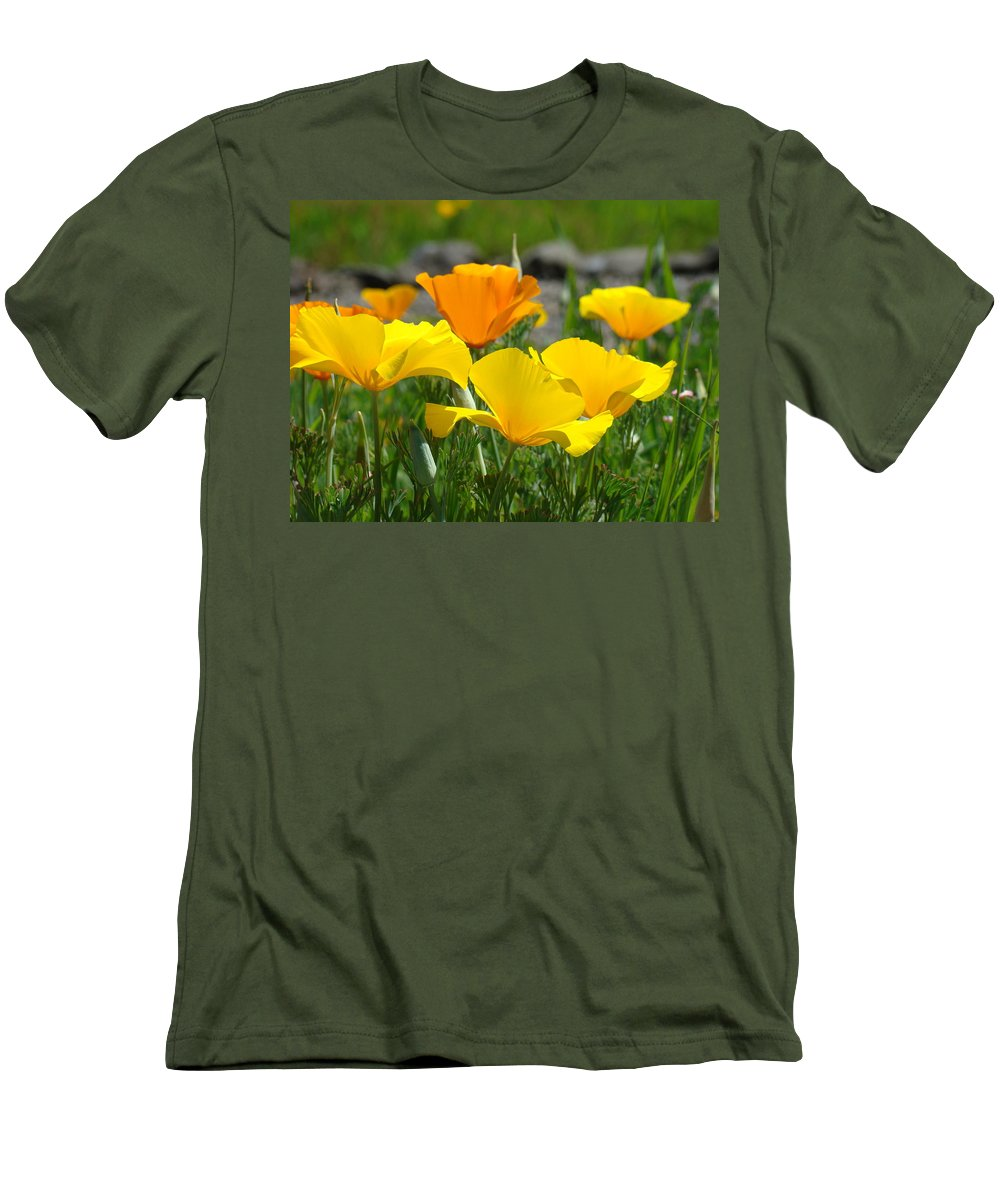 �poppies Artwork� Men's T-Shirt (Athletic Fit) featuring the photograph Poppy Flower Meadow 14 Poppies Orange Flowers Giclee Art Prints Baslee Troutman by Baslee Troutman