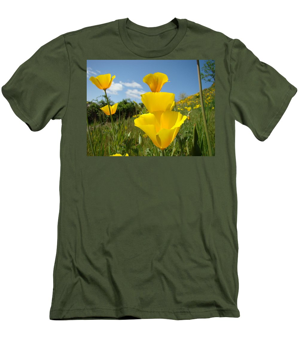 �poppies Artwork� Men's T-Shirt (Athletic Fit) featuring the photograph Poppy Flower Meadow 7 Poppies Blue Sky Artwork Baslee Troutman by Baslee Troutman