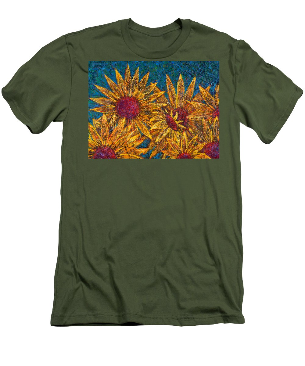 Flowers Men's T-Shirt (Slim Fit) featuring the painting Positivity by Oscar Ortiz