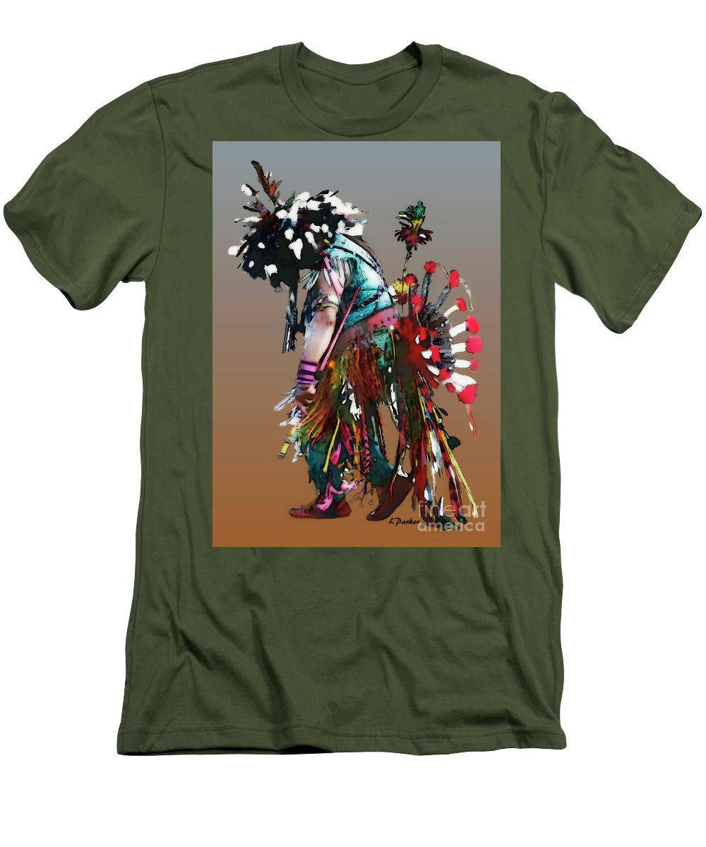 Abstract Men's T-Shirt (Athletic Fit) featuring the photograph Pow Wow Dancer by Linda Parker