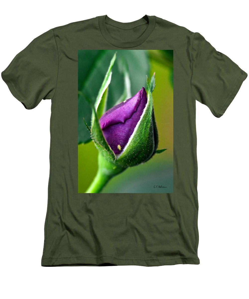 Rose Men's T-Shirt (Athletic Fit) featuring the photograph Purple Rose Bud by Christopher Holmes