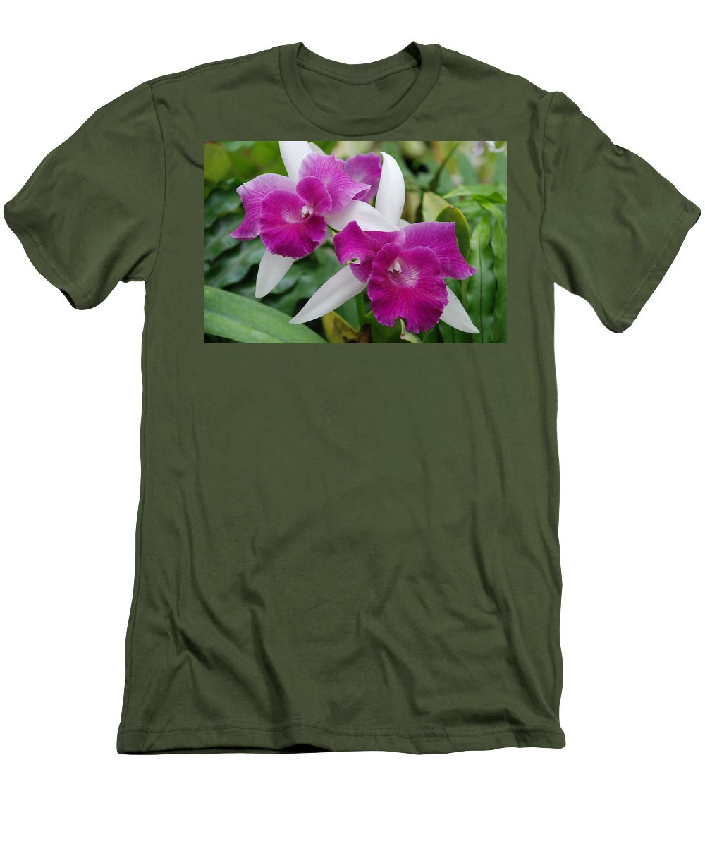 Macro Men's T-Shirt (Athletic Fit) featuring the photograph Purple White Orchids by Rob Hans