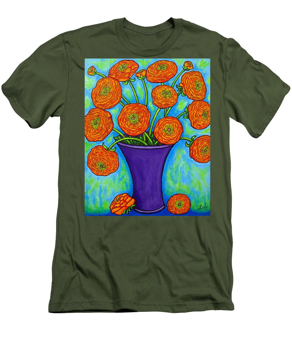 Green Men's T-Shirt (Athletic Fit) featuring the painting Radiant Ranunculus by Lisa Lorenz