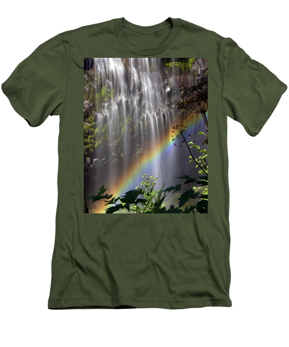 Waterfall Men's T-Shirt (Athletic Fit) featuring the photograph Rainbow Falls by Marty Koch
