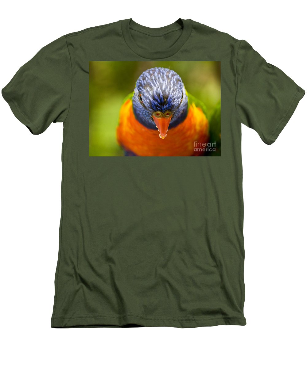 Rainbow Lorikeet Men's T-Shirt (Athletic Fit) featuring the photograph Rainbow Lorikeet by Avalon Fine Art Photography