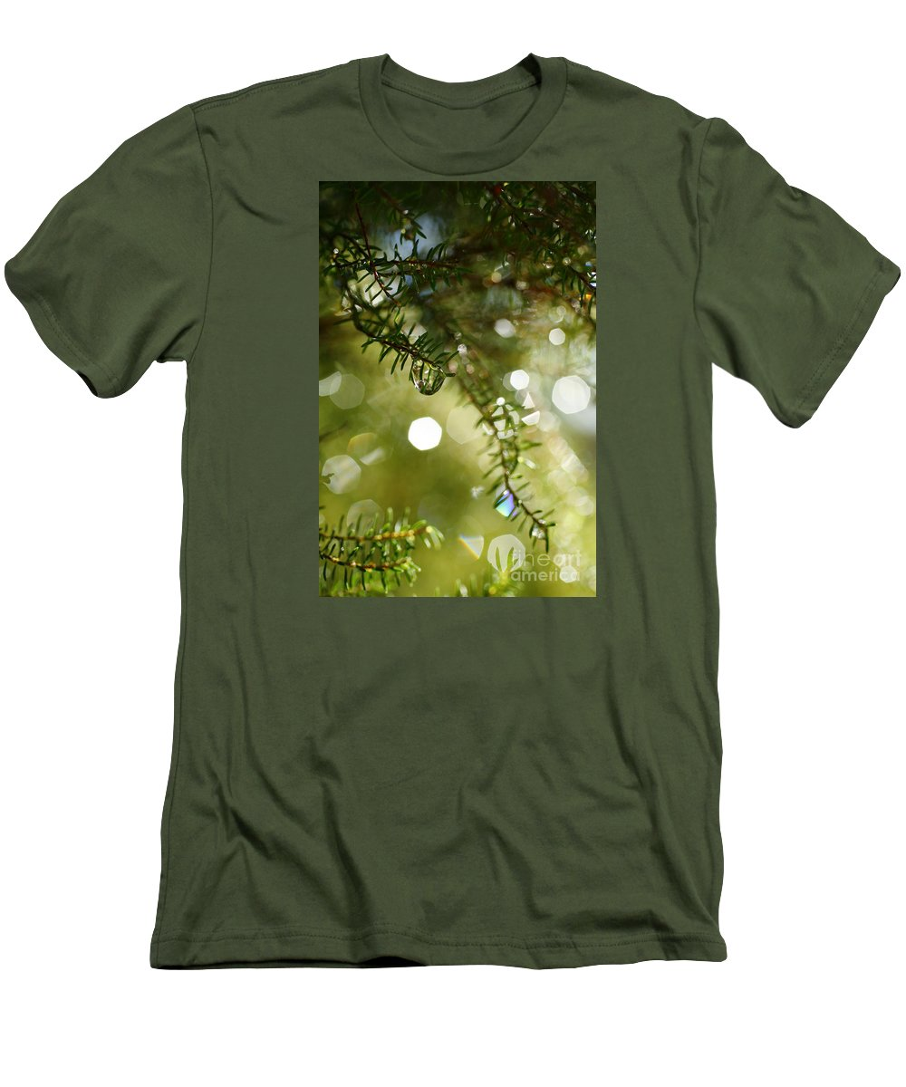 Dew Men's T-Shirt (Athletic Fit) featuring the photograph Raindrops by Gaspar Avila