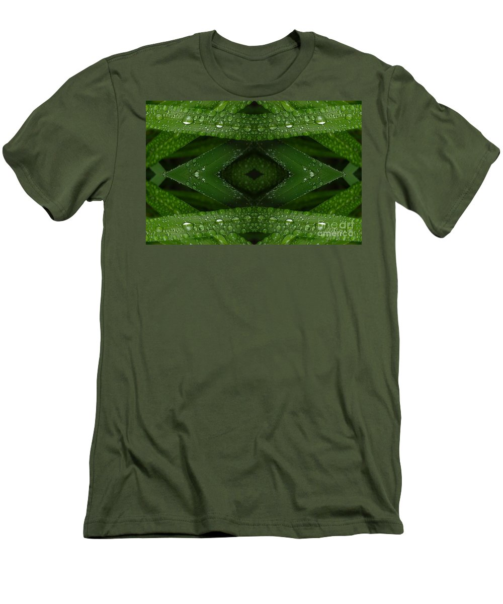 Nature Men's T-Shirt (Athletic Fit) featuring the digital art Raindrops On Green Leaves Collage by Carol Groenen