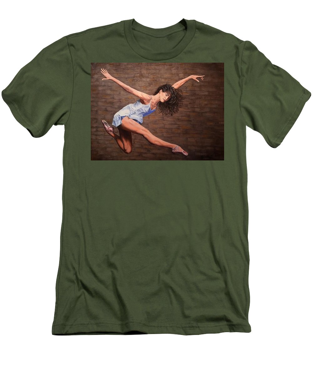 Acrylic Men's T-Shirt (Athletic Fit) featuring the painting Reaching New Heights by Sheryl Gallant
