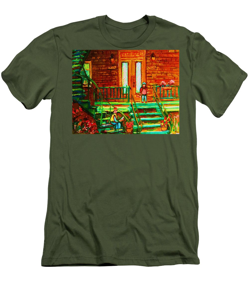 Stairways Men's T-Shirt (Athletic Fit) featuring the painting Reading On The Steps by Carole Spandau